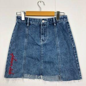 3/$30 High Waisted Denim Mini Skirt Sz 24